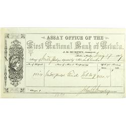 Austin,NV - Lander County - May 17, 1867 - First National Bank of Nevada Assay Office Receipt :