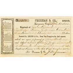 Sacramento City,CA - March 10, 1851 - Freeman & Co. Freight Receipt :