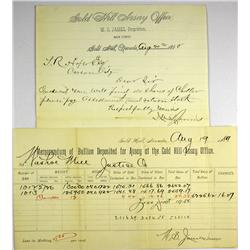 Gold Hill,NV - Storey County - August 18, 1889 - Gold Hill Assay Office Memorandum of Bullion Deposi
