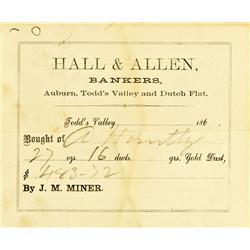 Todd Valley,CA - Placer County - c1867 - Hall & Allen, Bankers, Gold Dust Receipt :