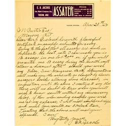 Tucson,AZ - Pima County - April 20, 1904 - Jacobs, E.A., Assayer, Handwritten Letter :