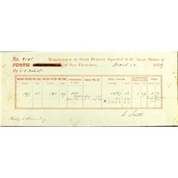 San Francisco,CA - March 22, 1859 - Justh & Hunter Assay Receipt San Francisco :