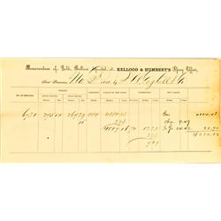 San Francisco,CA - November 2, 1858 - Kellogg & Humbert's Assay Memorandum of Gold Bullion :