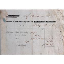 San Francisco,CA - Kellogg and Richter Memorandum of Gold Bullion Deposit :