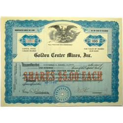 1935 - Golden Center Mines Inc. Stock Certificate :