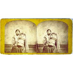 Indian Mother and Child in Cradleboard Stereoview :