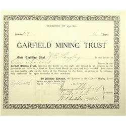 AK - March 31, 1908 - Garfield Mining Trust Stock Certificate :