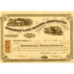 PA - Somerset County - April 8, 1865 - Somerset Land and Mineral Association, Stock Certificate :