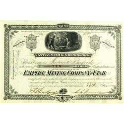 Salt Lake City,UT - Salt Lake County - November 16, 1880 - Empire Mining Company Stock Certificate :