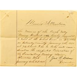 Stockton,UT - Tooele County - January 6, 1881 - Everlasting Mining Claim Letter of dispute :