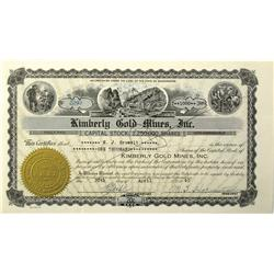 WA - 1940 - Kimberly Gold Mine Incorporated Stock Certificate :