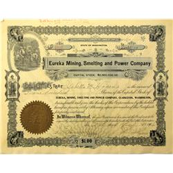 Clarkston,WA - Asotin County - 1916 - Eureka Mining, Smelting and Power Company Stock Certificate :