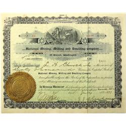 Everett,WA - Snohomish County - 1897 - National Mining and Milling Company Stock Certificate :