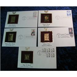 202. (5) First Day Covers with 22K Gold Replica Stamps.