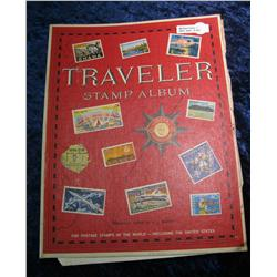 203. Traveler Stamp Album with dozens of Old stamps.