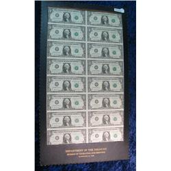 213. 16 Note Sheet of Series 1981 $1 Federal Reserve Notes.