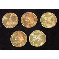 232. (5) 1776-1976 U.S. Bicentennial Indian Medals. Gem BU.