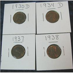 246. Lot of Ch BU to Gem BU Lincoln Cents: 1930D, 34D, 37P,