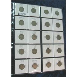 253. Lot of 20 Different V-Nickels 1884-1912 in 2 x 2s.