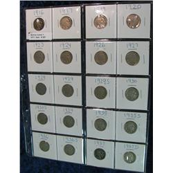 257. Lot 20 Different Buffalo Nickels 1916-37 in 2 x 2s. Circulated.