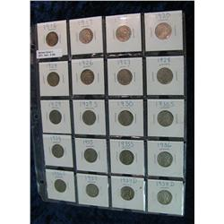 258. Lot 20 Different Buffalo Nickels 1916-38 in 2 x 2s. Circulated.