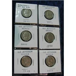 271. Page of 6 carded Jefferson Nickels 1941-53.