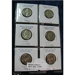 276. Page of 6 carded Gem BU Cents 1957-68D.