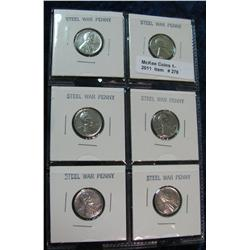 278. Page of 6 carded 1943 P U.S. WW II Steel Cents.