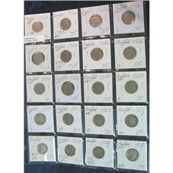 392. Sheet of (20) 1926-28D Buffalo Nickels. All with dates.