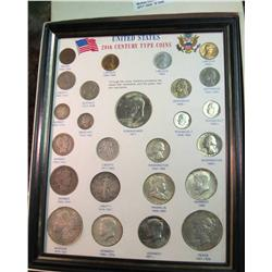 1546.  20th Century Type Set.  25 Coin Set in Display Frame.