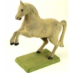 Good antique horse bank with velveteen over cast