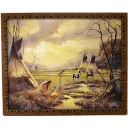 Color print of Native Indian encampment