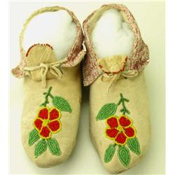 Contemporary pair of floral beaded moccasins