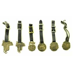 Collection of 6 brass watch fobs
