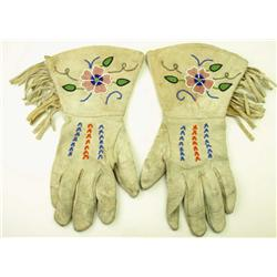 Beaded leather gauntlets with cotton lining