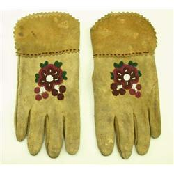 Floral beaded leather gloves