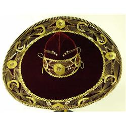 Large velvet and gold Charo sombrero