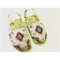 Pair mid 20th C. beaded moccasins