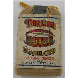 Drum Granulated Tobacco Pouch with Unbroken Tax Stamp