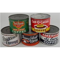 5 Assorted One-Pound Key-Wind Coffee Cans