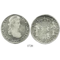 Zacatecas, Mexico, bust 8 reales, Ferdinand VII, 1816AG, scarce.