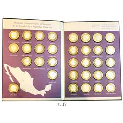Mint set of 33 Mexican 100-pesos bi-metallic (silver/brass) state commemoratives of 2003-2006 in col