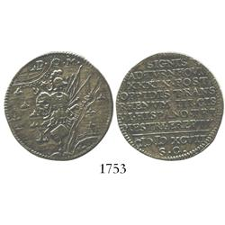 Netherlands, copper jeton, 1597, commemorative of the Spanish defeats of 1597.