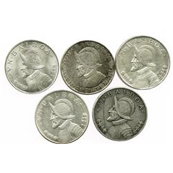 Lot of 5 Panama silver 1 balboas: 1931, 1934, 1947, 1953 and 1966.