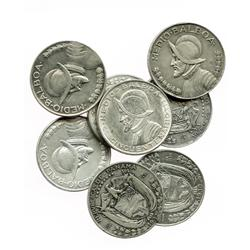 Lot of 8 Panama silver 1/2 balboas: 1930, 1932, 1933, 1934, 1947, 1953, 1961 and 1962.