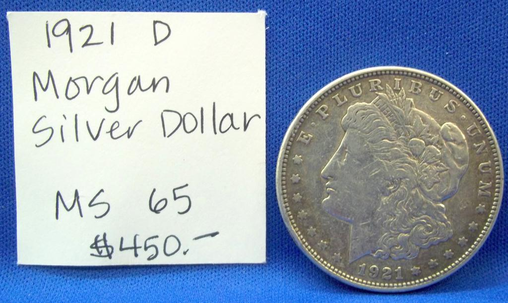 1921 D Morgan Silver Dollar Ms 65