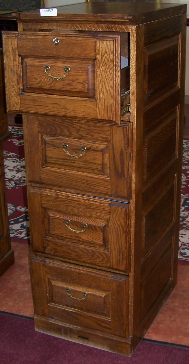 Oak File Cabinet. 4-drawer.