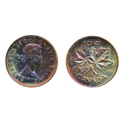 1947. Maple Leaf.  Blunt 7.  CCS Mint State-64. Red. 90% luster;  1953. S.F.  ICCS Mint State-64. Re