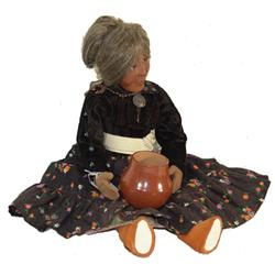 Pueblo Grandmother Doll and Pot - Patricia Pena