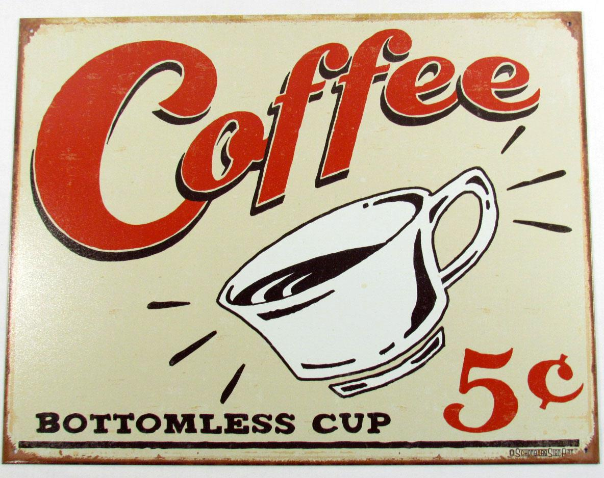 Coffee 5 cents retro metal sign approx 16 by 1 for Plaque deco cuisine retro